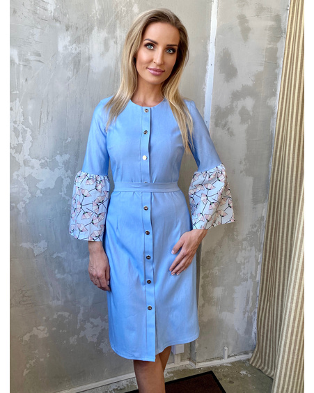BOYFRIEND BELL SLEEVE DENIM DRESS LIGHT BLUE