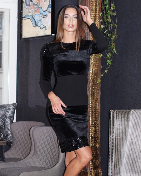 BLACK BODYCON VELVET BLOCK DRESS