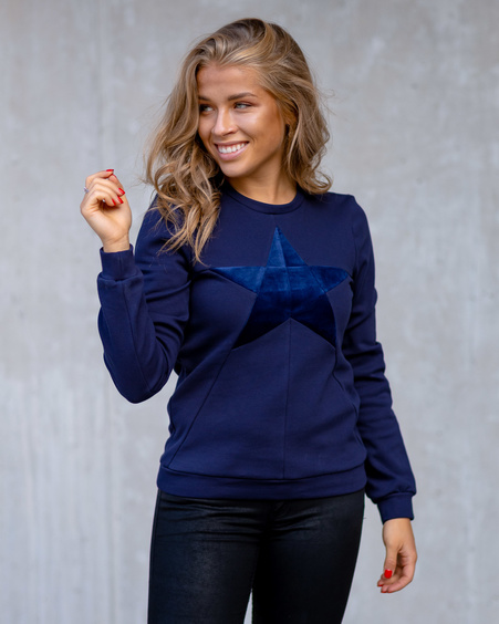 DARK BLUE STAR  SWEATSHIRT