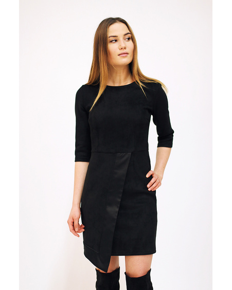 COOL FLAP BLACK SUEDE DRESS