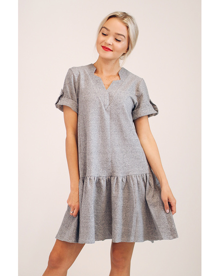 GREY COMET PEARL FRILL DRESS