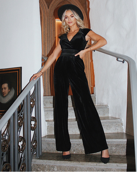 BLACK VELVET WRAP RAGLAN JUMPSUIT