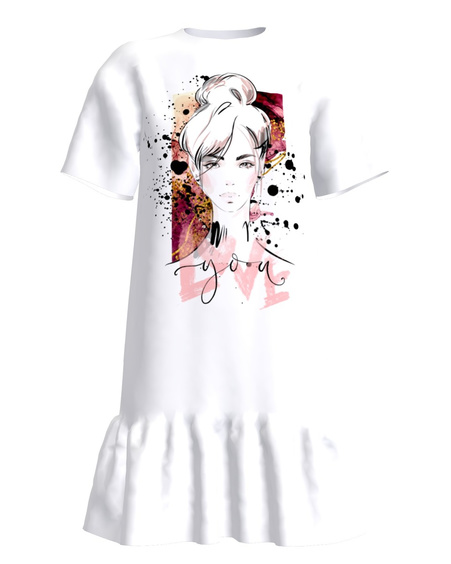 LOVE YOU FRILL DRESS WHITE