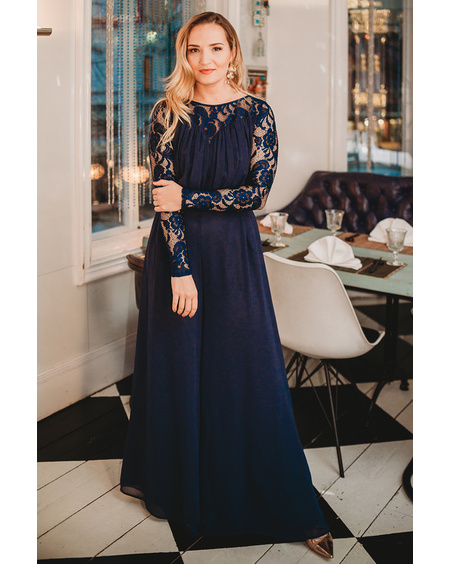 WIDE LEG JUMPSUIT NAVY BLUE LACE