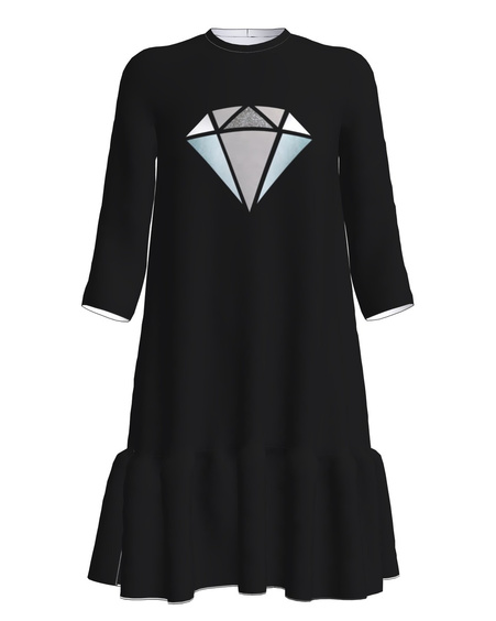 SILVER DIAMOND FRILL DRESS BLACK