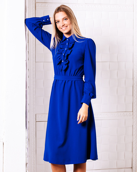 FRILL ELECTRIC BLUE MIDI DRESS