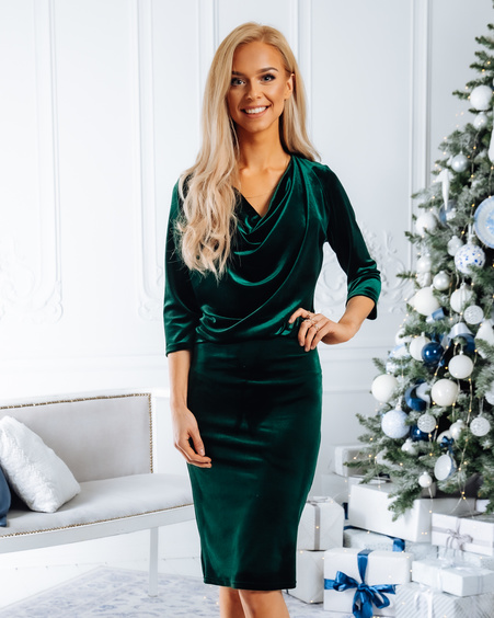 COWL NECK VELVET DRESS GREEN