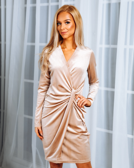 WRAP MINI DRESS BEIGE VELVET