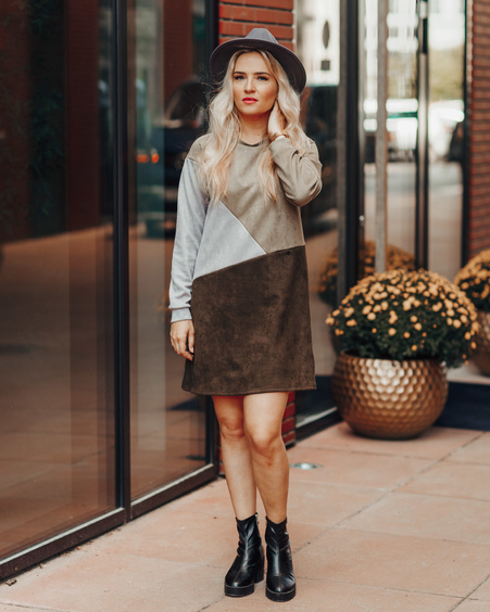 GEOMETRIC DARK GREEN & GREY SUEDE DRESS