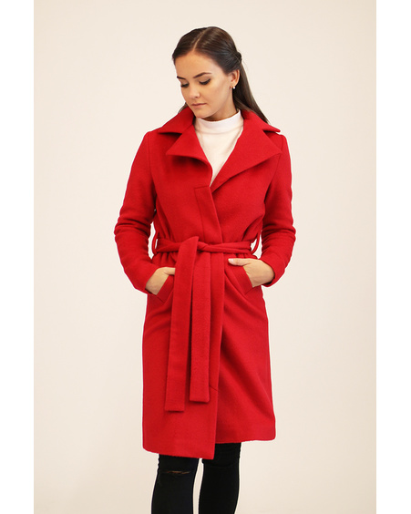 RED WATERFALL COLLAR COAT