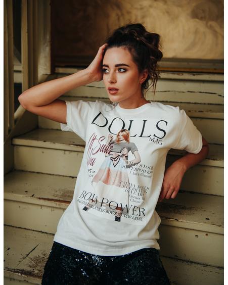 DOLLS MAGAZINE WOMAN SLIM  T-SHIRT WHITE