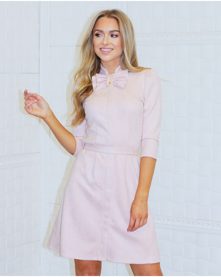PASTEL PINK SUEDE BOW DRESS