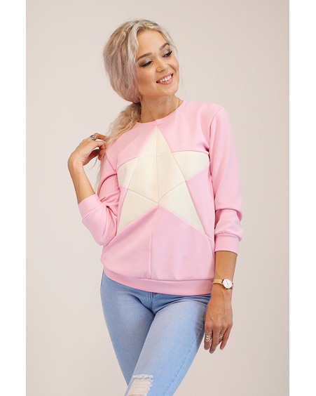 CREAM STAR PINK QUARTER SWEATER