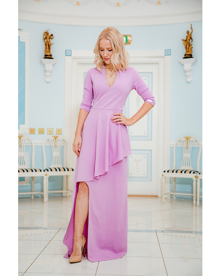 ASYMMETRIC LILAC MAXI DRESS