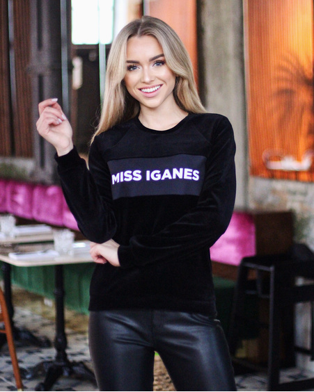 MISS IGANES VELVET SWEATSHIRT BLACK