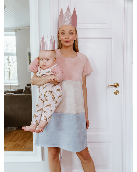 TRIO FREE NURSING DRESS PASTEL PINK BLUE