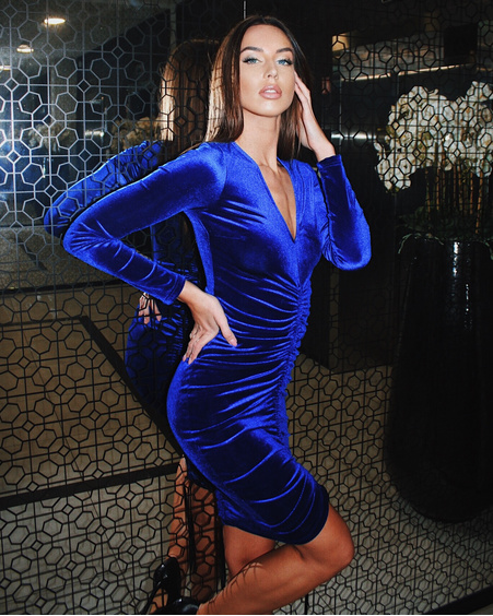 TUNNEL VELVET DRESS ELECTRIC BLUE
