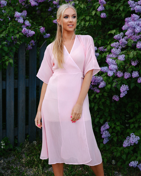 PINK DREAM FLOWY MIDI DRESS
