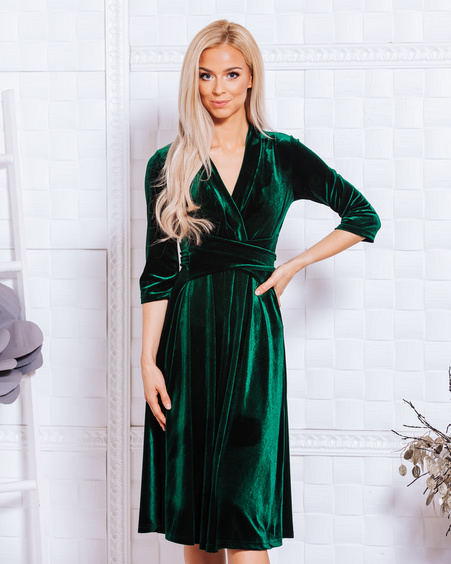 ELEGANT DRESS GREEN VELVET