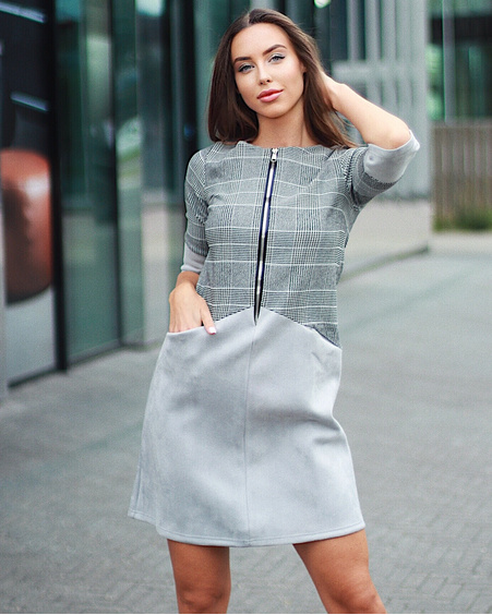 ZIPPER DRESS GREY STRIPED