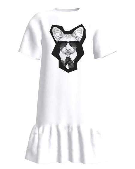 MAFFIA CAT FRILL DRESS WHITE