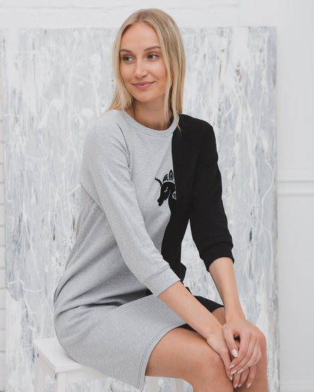 UNICORN TWAIN SWEATER DRESS GREY