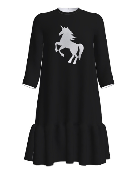 UNICORN FRILL DRESS BLACK