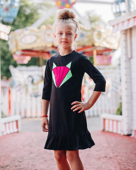 COLORFUL FOX KIDS DRESS BLACK