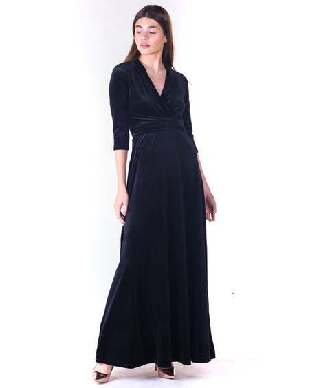 BLACK ELEGANT VELVET MAXI DRESS