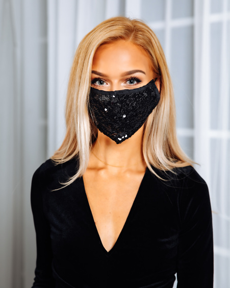 FACE MASK BLACK SEQUIN -1 PIECE