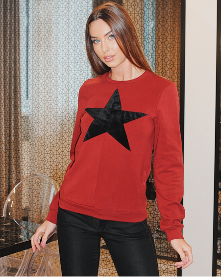 STAR SWEATSHIRT BORDEAUX