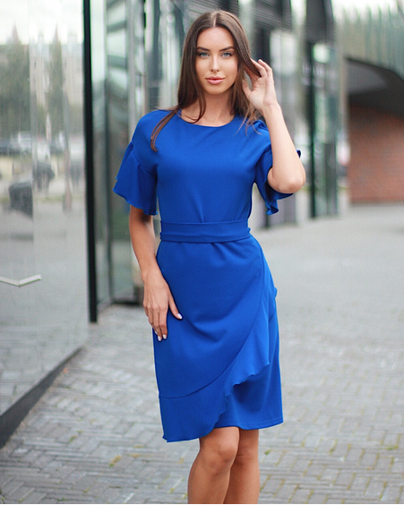 ELECTRIC BLUE DIAGONAL FRILL DRESS