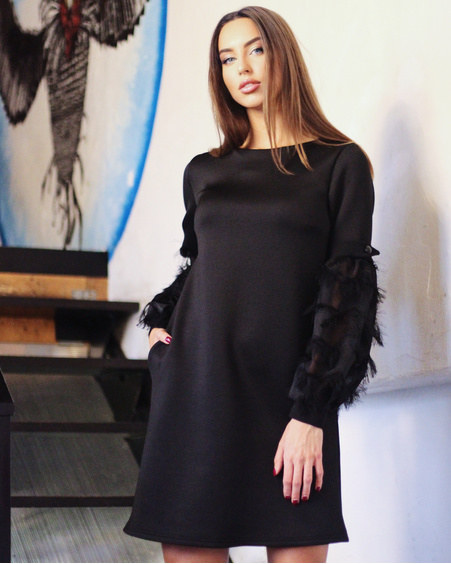 FRINGE SLEEVE POCKET SOFT DRESS