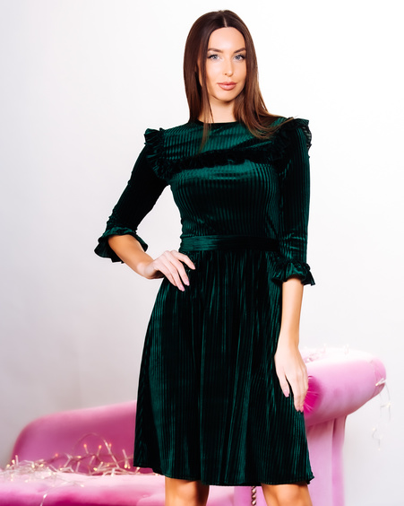 CAROL BOHO FRILL DRESS GREEN
