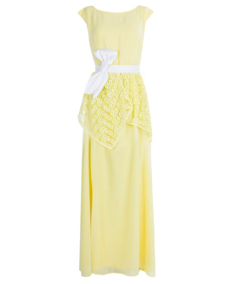 YELLOW CHIFFON MAXI DRESS