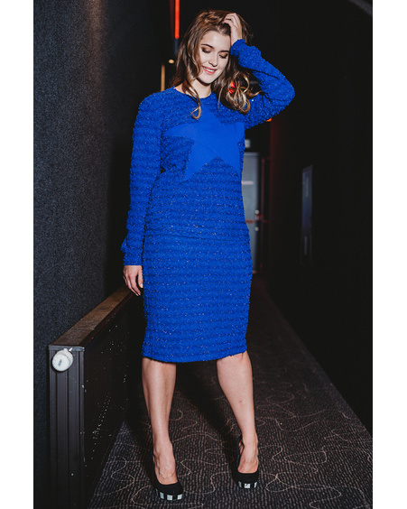 BLUE STAR KNIT SWEATER+SKIRT SET