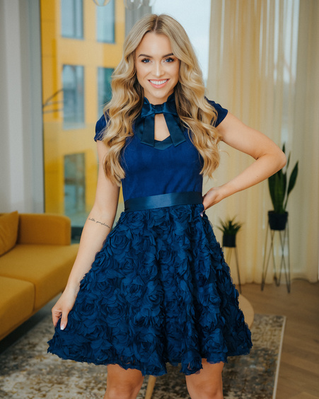 DOLLABLE FLOWER DRESSS NAVY