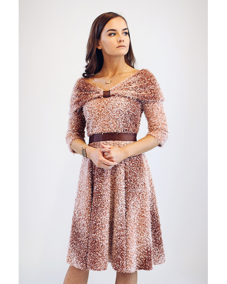FUZZY SHOULDER BOW CARAMEL DRESS