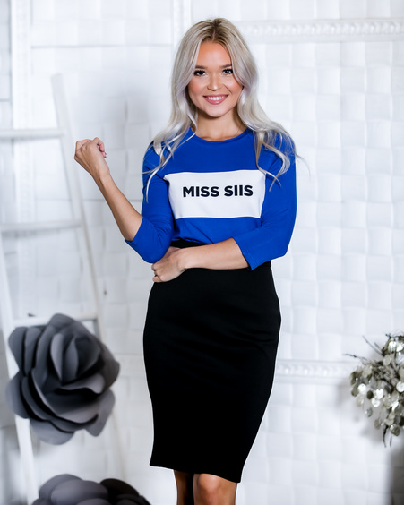 MISS SIIS ELECTRIC BLUE QUARTER BLOUSE