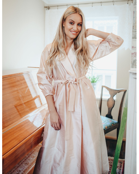 LIGHT PINK SILK MIDI DRESS