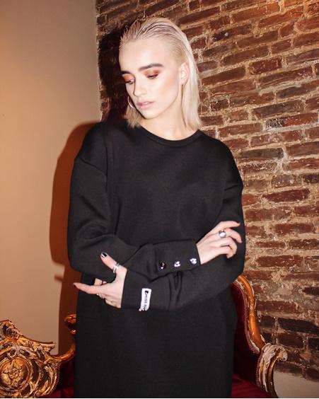 BLACK OVERSIZE STUD SLOGAN DRESS