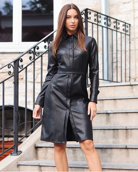 BLACK LEATHER TD POPPER BOYFRIEND DRESS