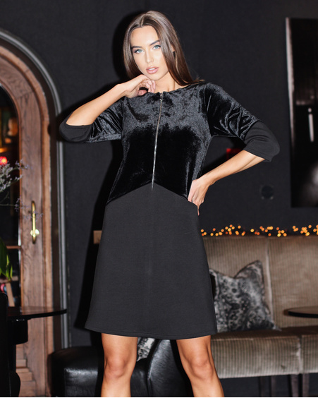 BLACK ZIPPER VELVET DRESS