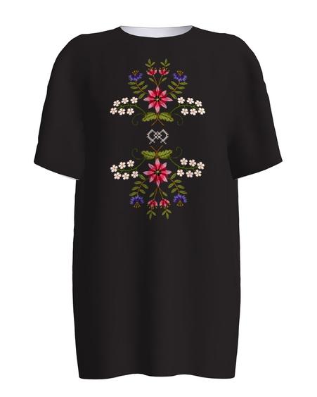 ESTONIAN EMBROIDERY BLACK PRINT T-SHIRT