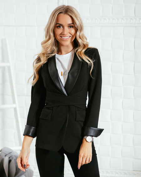 BLACK LEATHER DETAIL ELEGANT BELT JACKET