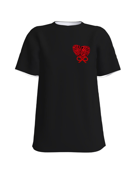BOW HEART PRINT T-SHIRT BLACK