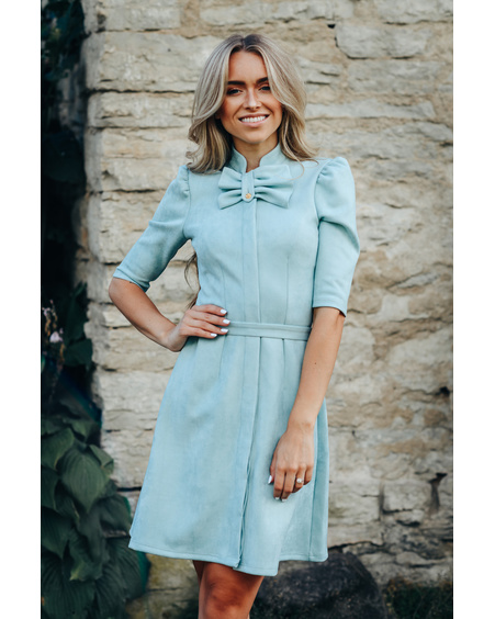BOW SUEDE DRESS MINT
