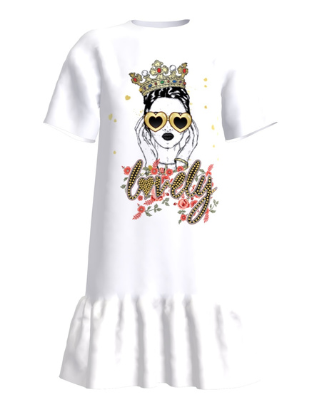 Lovely white t-shirt dress with frill