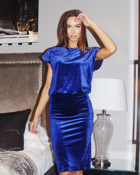 MERMAID DRESS VELVET BLUE