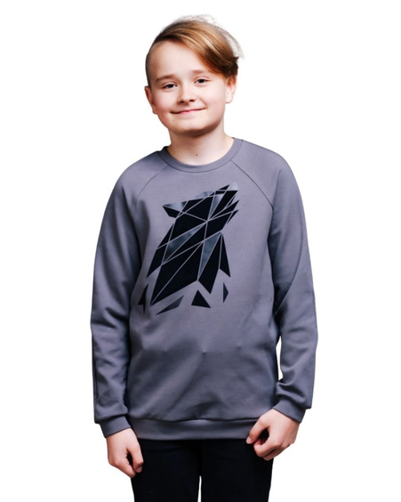 ABSTRACT WOLF KIDS SWEATSHIRT GREY